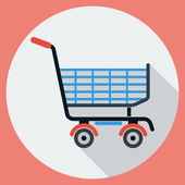 Shopping cart flat vector illustration — Stock Vector