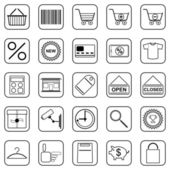 Shopping black contour web icons — Stock Vector