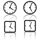 Sada ikon hodiny černý. — Stock vektor
