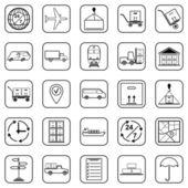 Logistics black contour  web icons — Stock Vector