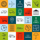 Logistics contour web icons. — Stock Vector