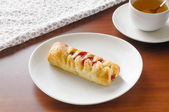 Flaky Pastry with Cherry Jam — Stock Photo