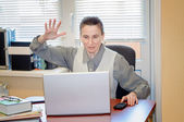 Senior Woman Raging Against the Computer — Stock Photo