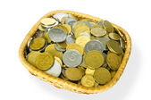 Grivna Coins in a Basket — Stock Photo
