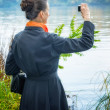 Buisiness Woman with Digital Camera — Stock Photo