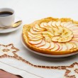 Golden Apple Tart and Coffee Cup — Stock Photo