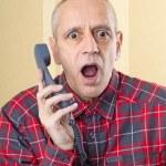 Man Surprised on Phone — Stock Photo