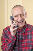 Laughing Man on Phone — Stockfoto