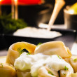 Stock Photo: Pelmeni (Dumplings) with Fennel and Smetan(Sour Cream)