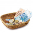 Basket with Money — Stock Photo