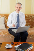Senior Businessman at Computer — Stock Photo