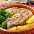 Stock Photo: Pork Ribs with Potatoes and Broccoli