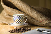 Coffee Beans with Cup and Pen — Stock Photo