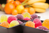 Fruit Jelly and Fruit — Stock Photo