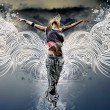 Girl with wings against the sky — Stock Photo #19698209