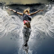 Girl with wings against the sky — Stock Photo