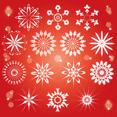 Red snowflakes set — Stock Vector