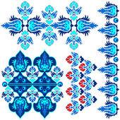 Blue ottoman serial patterns eight — Stock Vector