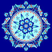 Blue decorative oriental pattern and ornaments version — 图库矢量图片