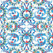 Blue oriental ottoman design forty — Stock Vector