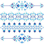 Blue oriental border and ornament seventeen — Stockvector