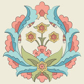 Ottoman art flowers fourteen version — Stock Vector