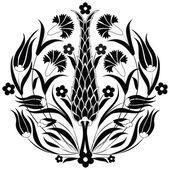 Oosterse ottomaanse ontwerp zwart — Stockvector