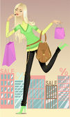 Girl running for shopping — Stock Vector