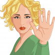 Young woman making stop gesture - Stock Vector