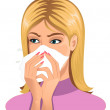 Stock Vector: Sneezing woman