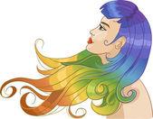 Kobieta z tęczy włosów — Wektor stockowy
