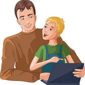 Father and boy working with laptop — Stock Vector