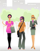 Three women in a big city — Stock Vector