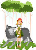 Little red riding hood with wolf — Stock Vector