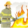 Stock Vector: Firefighter with fire hose against fire