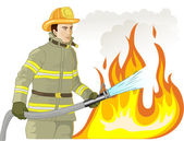 Firefighter with a fire hose against a fire — Stock Vector