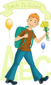 Boy on his way to school — Vector de stock