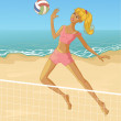 Young woman playing beach volleyball  — Stock Vector