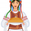 Young woman in ukrainian clothes, with garland and round loaf — Stock Vector