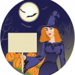 Royalty-Free Stock Vector Image: Halloween witch with message board on the halloween background