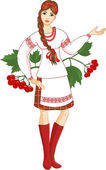 Young woman in ukrainian clothes — Stock Vector