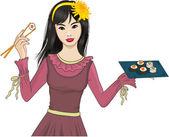 Unga japanska flickan tycker om sushi — Stockvektor