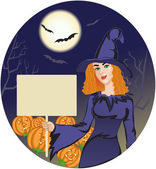 Halloween witch with message board on the halloween background — Stock Vector