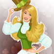 Stock Vector: Cute blond girl Leprechaun with hat