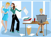 Three Girls In the Office — Stock Vector
