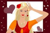 девушка с сердцем — Cтоковый вектор