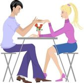 Couple in cafe — Stock Vector
