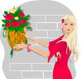 花を持つ若い女 — ストックベクタ