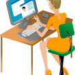 Girl at computer — Stock Vector
