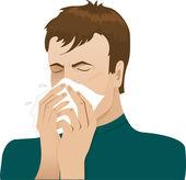 Man sneezing in handkerchief — Stock Vector